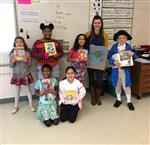 Mrs Salimeno with six students as book characters